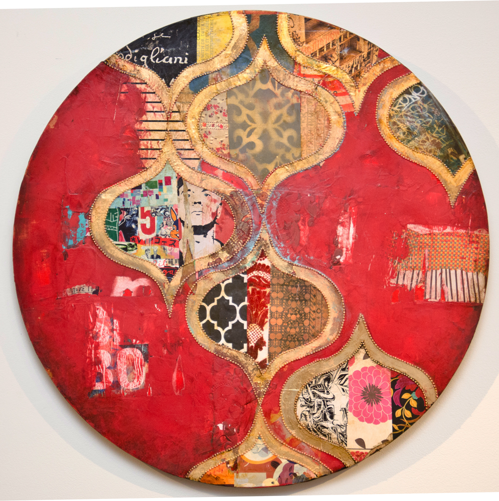 "Andy Says, mixed media on wood, 24"" diameter"