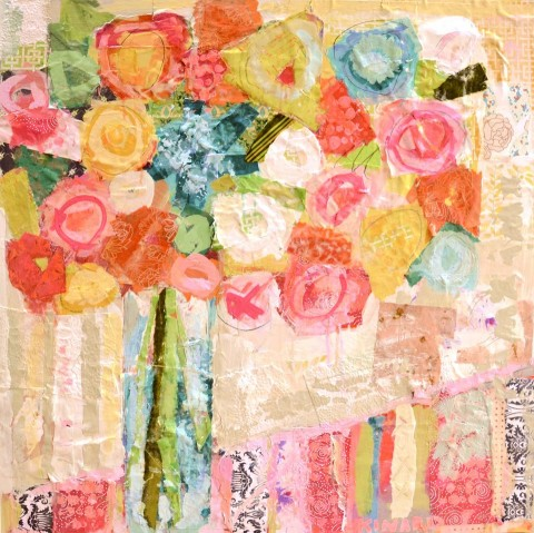 Pink, Yellow, Orange XOXO by Christy Kinard