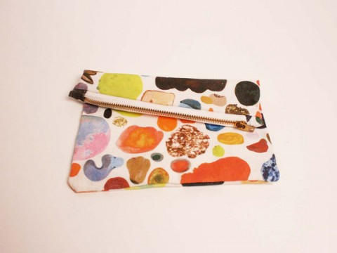 Mini abstract art zipper clutch by kindah