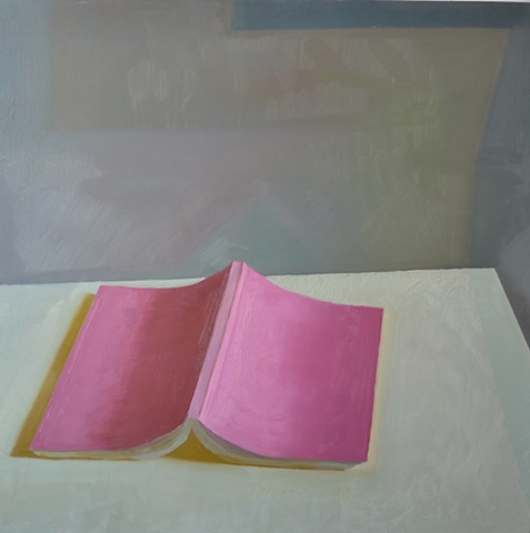 Pink Book, oil on panel, 24x24