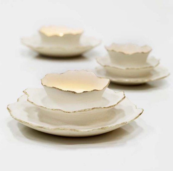 White Ceramic Votive Vessel by Sara Paloma