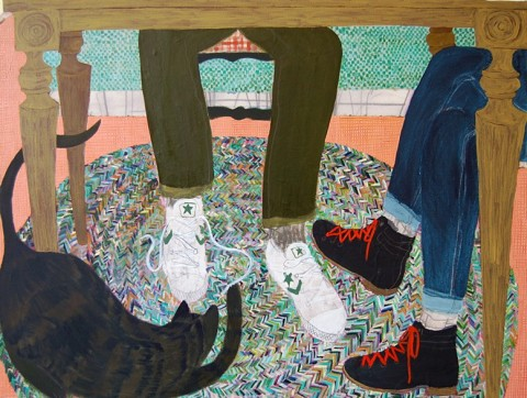 Cat Under the Table by Giordanne Salley | artsy forager #art #paintings #cat