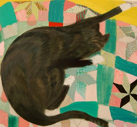 Penny by Giordanne Salley | artsy forager #art #paintings #cat #quilt
