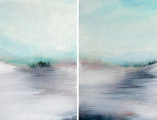 Frenz_Above Us Only Sky I & II ( diptych )_ 2015_acrylic on masonite panel_12x24 overall