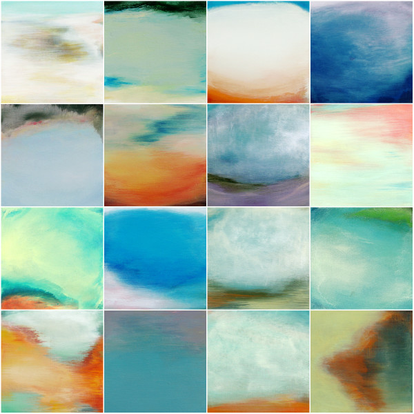 Prismatics 1-16, inspired by Yellowstone prismatic pools | artsy forager #art #artists #paintings #abstractart #yellowstone