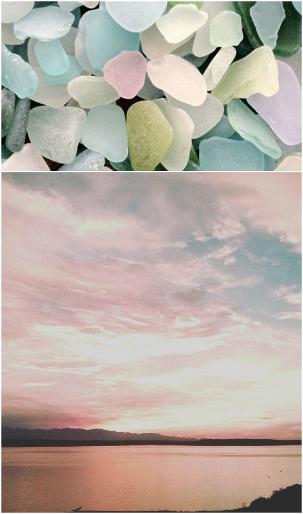 Seaglass and sunsets collage